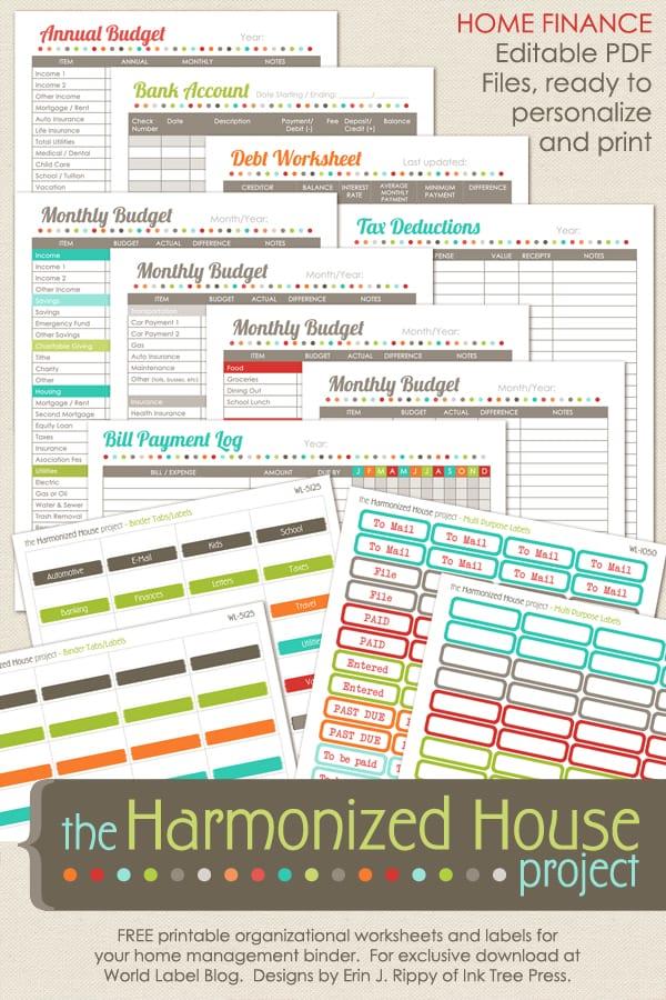 Home Finance Printables